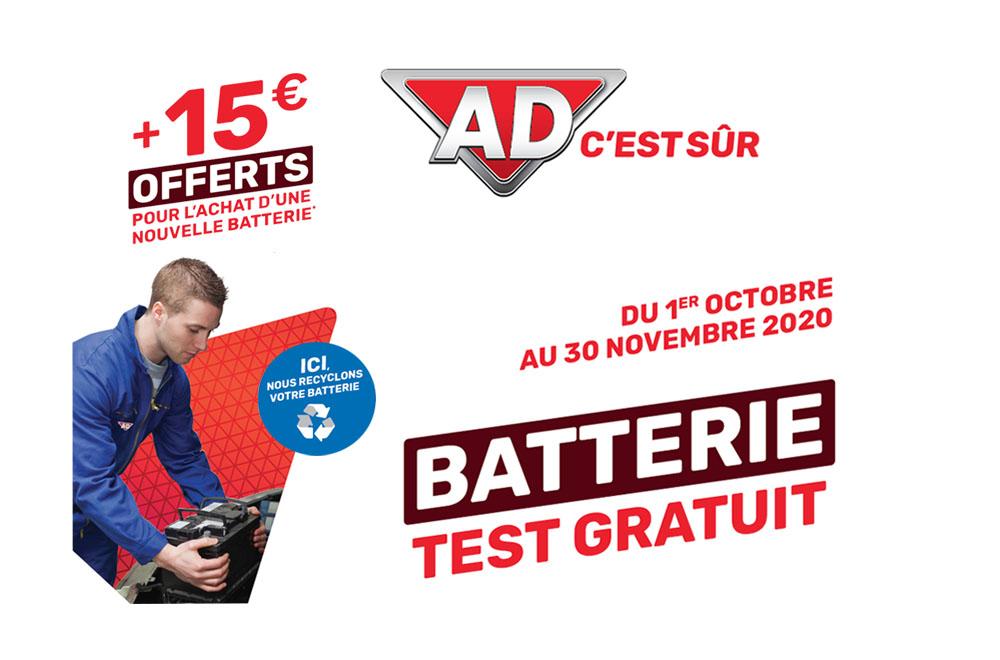 Test de batterie Gratuit ou 15 euros offerts pour changer de batterie avant l'hiver 2020